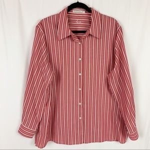 Foxcroft Wrinkle Free Striped Button Up Blouse